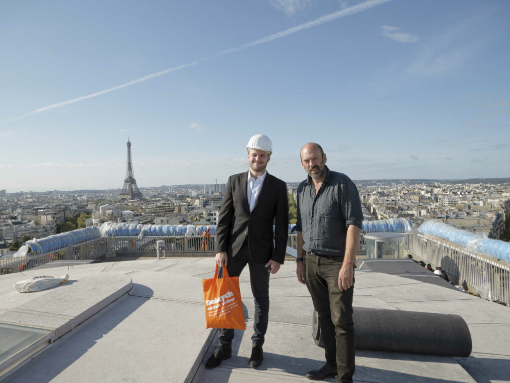 Sven Wasik and Vladimir Yavachev on the roof of the Arc de Triomphe